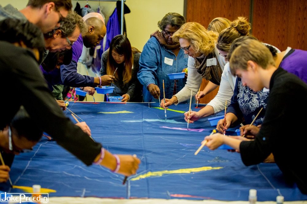 Accessible Worship Symposium participants painting