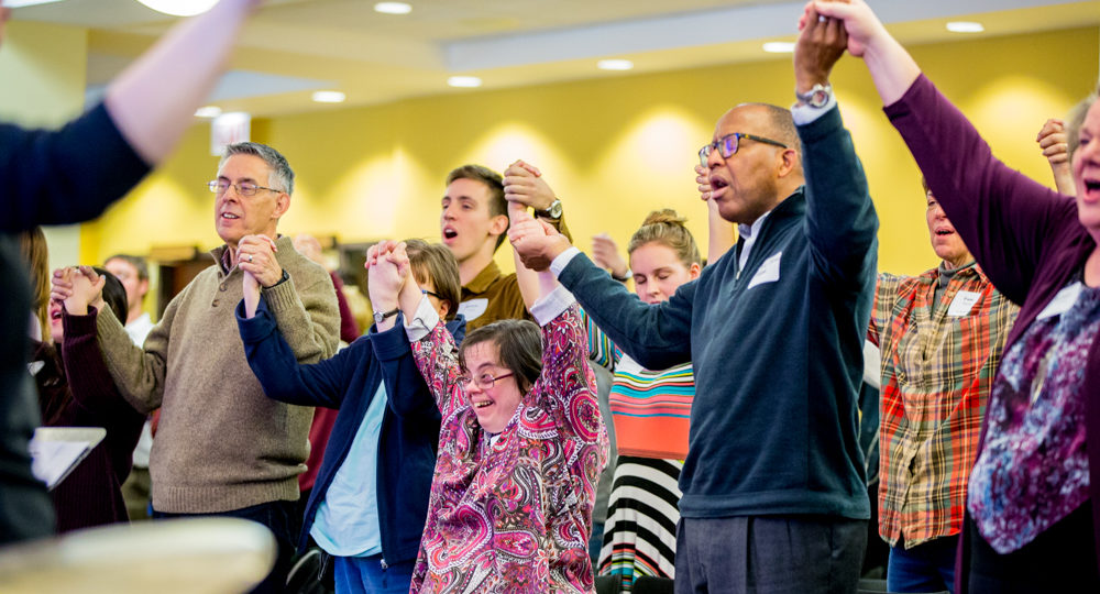 Participants worshiping at the Accessible Worship Symposium
